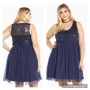 Torrid Special Occasion Dress Skater Sequin Tulle